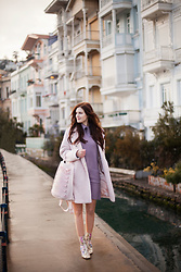 Viktoriya Sener - Asos Coat, Asos Sweater Dress, Asos Backpack, Asos Boots - PASTEL PINK
