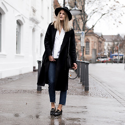 Catherine V. - Mango Hat, Cos Coat, Asos Backless Shirt, Asos Step Hem Jeans, Sacha Loafers - Under the rain