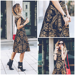 Jasmin Kessler - Chi London Dress, All Outfit Photos & Details: - CHI CHI LONDON DRESS /W CARRANO BOOTS & RED DESIGUAL BAG