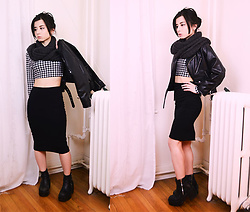 Lovely Blasphemy - Unif Cropped Moto Jacket, Wego Infinity Scarf, American Apparel Black Pencil Skirt, Unif Rival Boots, Dresslink Houndstooth Bodycon Top - Crying is for plain women. Pretty women go shopping.