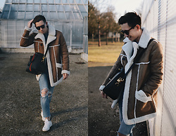 Frank Lin - Asos Shearling Coat, Gucci Bag, H&M Ripped Jeans, Common Projects White Sneakers - Hello Spring, it's me!