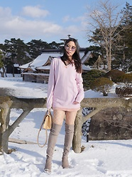 Belle Sirisoonthorn - Miu Sunglasses, Stuart Weitzman Boots - Pink and Nude