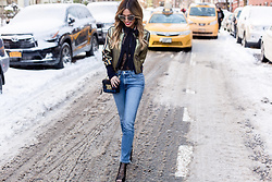 Jessi Malay - 3x1 Women's W3 Straight Authentic Crop Jeans, Kendall+Kylie Ginny Ankle Bootie, Equipment Leema Tie Blouse, Bcbgmaxazria Andreas Bomber, Juicy Couture Black Label Chunky Tweed Mini Crossbody With Envelop Flap Closure - Metallics for #NYFW17