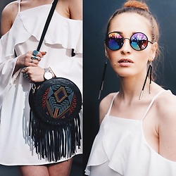 Fashion Artista - Shein Trible Handbag, Time Chain Watch, Sunday Somewhere Sunglasses, Shein Earrings, Shein Dress - The devil is in details