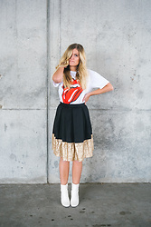 Chandler Roberson - Be Here Now The Quinn Skirt, Amazon White Booties, Boohoo Rolling Stones Tee - Rock N Sequins