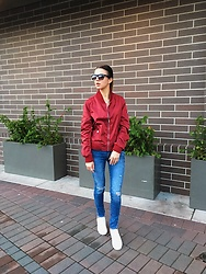 Eva Adotik - Zaful Red, Zara Denim - Red