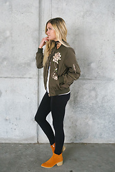 Chandler Roberson - Be Here Now The Blossom Bomber Jacket, Be Here Now Booties In Camel - Awesome Blossom Bomber