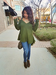 KaSonndra L. - Army Green Cold Shoulder Sweater, Just Black Denim Frayed Hem Jeans, Journee Faux Suede Wedge Boot - All Torn Up About Things