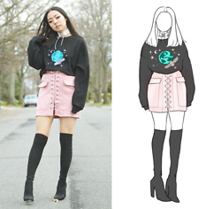 Yonish - Zaful White Lace Up Choker, Mixxmix Earth Pullover, Yoins Pink Suede Lace Up Skirt, Boohoo Sock Boots - Lace Up Skirt
