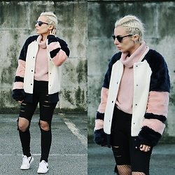 Cátia Gonçalves - Zaful Fur Bomber, Zaful Sweater, Dresslink Ripped Jeans, Nike Sneakers - We are reasons so unreal