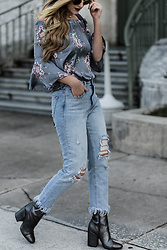 Shannon Jenkins - Vici Satin Floral Top, Kendall & Kylie Metallic Booties, Distressed Denim - Satin Floral