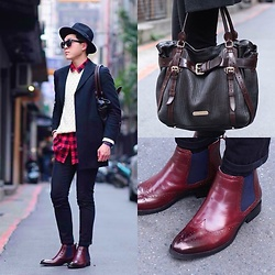 Linus Hung - Vanger Boots, Burberry Bag, Jil Sander Coat, Uniqlo Sweater - Amish Gentleman