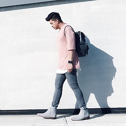 ALLEN M - Zara Shirt, Aldo Leather Backpack, H&M Jeans, Forever 21 Chelsea Boots - SAND PINK // IG: @iamALLENation