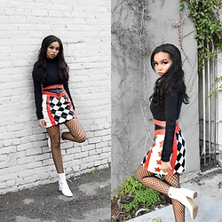 Daphne Blunt - Asos Checkered & Star Print Leather Mini Skirt, Theory Black Turtleneck, Public Desire Patent Leather White Booties, Asos Small Fishnet Tights - Start Your Engines ?