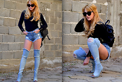 Martina Manolcheva - Celine Sunglasses, Zara Sweater, Bag, H&M Shorts, Michel Boots - Denim Over The Knee Boots