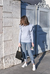Margot Guilbert - Ethical Sneakers - Pastel Blue Ruffle Sweater - The Pastel Project