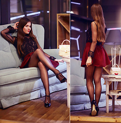 Ariadna Majewska - Black Lace Top, Beige Bag, Black Shoes, Red Skirt - Black lace