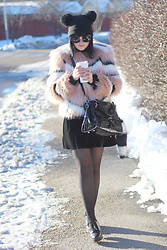 Panda . - Monki Hat, Ivyrevel Faux Fur, Karen Millen Bag - CANDY FAUX FUR + STARBUCKS