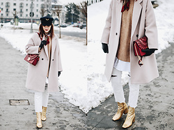 Andreea Birsan - Military Hat, Beige Oversize Coat, Red Shoulder Bag, Camel Sweater, Silk Scarf, White Button Down Shirt, White Distressed Cropped Jeans, Gold Metallic Ankle Boots - How to wear white jeans and neutrals in winter