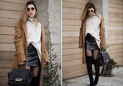 Lena Juice - Zac Posen Bag - OVERSIZED CAMEL COAT AND PATENT SKIRT