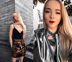 Silver Girl - Saint Laurent Metallic Leather Jacket, Asos Bodysuit, Revolve Tribal Skirt, Lovers + Friends Rhinestone Choker - BRIGHT TRIBE