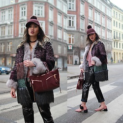 Louise Xin - Louise Xin Patchwork Faux Fur Coat, H&M Burgundy Pompom Cap, Zara Biker Pants, Zara Pom Pom Lace Up Heels, River Island Burgundy Bag - Cross over