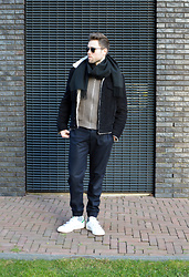 Jordi - Cos Scarf, Filippa K Cord Trucker Jacket, Filippa K Zip Cardigan, Cos Wool Cuffed Pants, Adidas Stan Smith Velcro - Neutrals