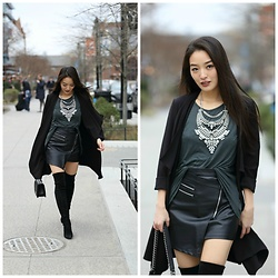Kimberly Kong - Stuart Weitzman Suede Over The Knee Boots, Chicwish Faux Leather Mini Skirt, Jwholesale Statement Necklace, Shop Sosie Black Duster - Strutting in Suede OTK Boots