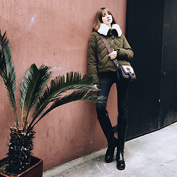 Lolita Sharun - Zara Quilted Olive Green Jacket, Ann Demeulemeester Brushed Leather Riding Boots - Lazy Tuesday