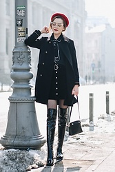 Andreea Birsan - Double Breasted Military Coat, Contrast Tie Neck Top, Suede Button Front Mini Skirt, Patent Over The Knee Boots, Mini Piper S Leather Bag, Red Beret, Cat Eye Glasses - How to look Parisian chic