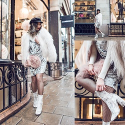 Louise Xin - Gina Tricot White Faux Fur, Na Kd Velvet Dress, Fishnet Stockings, Boohoo Velvet Boots - Snowy day in Stockholm