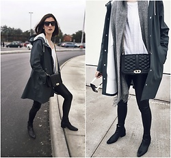 Aleksa Goldfield Rodrigues - Rebecca Minkoff Love Crossbody, Aritzia Leather Leggings, Urban Outfitters Leather Ankle Boots, Stutterheim Raincoat, Anthropologie White T, Wilfred Wool Scarf - Stutterheim Raincoat