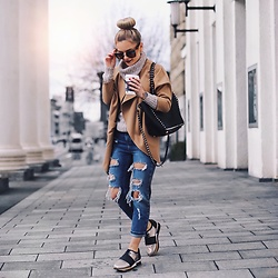 Romina M. - Philippe Model Sneakers, New Look Ripped Boyfriend Jeans, Valentino Bag, Primark Coat, Cluse Watch, Miu Sunnies - Ripped Jeans