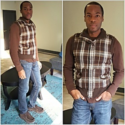 Thomas G - Gap Athletic Fit Long Sleeve Shirt, Mossimo Supply Co Plaid Vest, Levi's 511 Strauss & Co Skinny Jeans, Skechers On The Go - Vest + Jeans