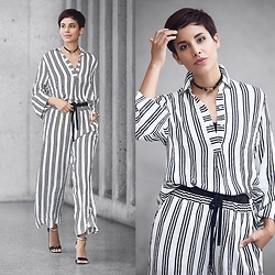 Adriana Seminario - H&M Striped Blouse, H&M Striped Palazzo Pants, Nine West Black Stilettos - Studio Stripes