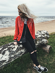Elza B - H&M Red Bomber Jacket, Vans Old Skool Trainers - Red