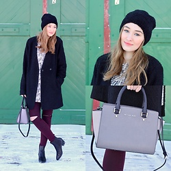 Taylor Doucette - Zara Fuzzy Beanie, Sam Edelman Black Leather Booties, Noul Printed Tunic, Michael Kors Selma Purse, Topshop Burgundy Joni Jeans, Forever 21 Black Coat - How Far I'll Go - Auli'l Cravalho
