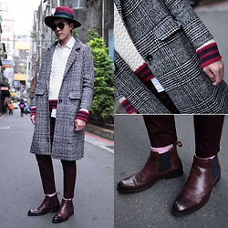 Linus Hung - Vanger Boots, Tastemaker 達新美 Coat, Tastemaker 達新美 Sweater - Preppy coat