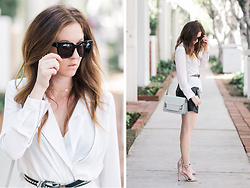 Stephanie Jenkins - Elizabeth And James Black Sunglasses, Luv Aj Stacked Ring Set, Luv Aj Chain Choker, Naked Vice Croc Handbag, B Low The Belt Studded, Sol Sana Nude Heet - Spring Fever