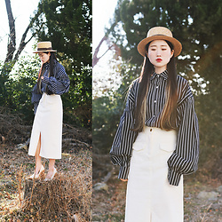 Autumn Kim - Phila Petra Stripe Balloon Blouse, Phila Petra Pocket Slit Skirt, Boater Hat - Spring forest