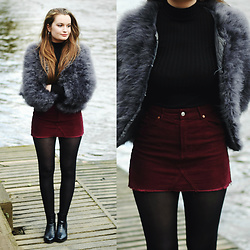 Imogen De Souza - Ebay Feather Jacket, Topshop Skirt, Asos Boots - Feather Weather