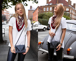 Silver Girl - Gucci Silk Scarf, Kenzo Kalifornia Bag, Helmut Lang Leather Pants, Asos White T Shirt - REBEL WITHOUT CAUSE
