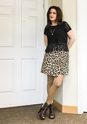 Joy H - H&M Fringed Lace Top, H&M Leopard Wrap Skirt With Zipper, Dollhouse Studded Ankle Boots - Knock on Wood
