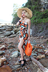 Kayla J - Hearts And Found Playsuit & Sarong Set, Erstwilder Echo Of The Ocean Dolphin Brooch, Sun Jellies Orange Jelly Bag - Echo of the Ocean