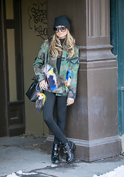 Lauren Recchia - Harvey Faircloth Camo Jacket, Balenciaga Boots, Fendi Fur Karl Key Ring - Statement Camo