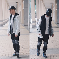 Seff Musa - Zara Leather Cap, Zara White Sweater, Forever 21 Black Sheer Vest Hoodie, Pull & Bear Denim Jacket, Forever 21 Jogger Pants With Knee Patches, K Swiss Blue High Cut Sneakers - Have it all