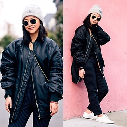 Tiffany Wang - H&M Pants, Common Projects Sneakers, Zara Bomber Jacket, Acne Studios Beanie, Ray Ban Sunglasses - BOMBER JACKET