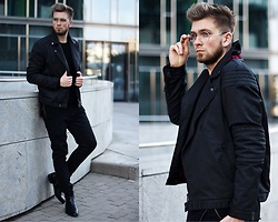 Lukasz Podlinski - Reserved Ramones Jacket, Reserved Pants, C&A Sweater, Conhpol Shoes - Black jacket