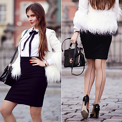 Ariadna Majewska - Shein White Cardigan, Black Pencil Skirt, Wolford Nude Seamed Tights - Vintage