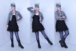 Suzi West - Sharla Tv Custom Plushie Fascinator, Suzi West Model Lego Brick Earrings, Shantel Niblock Ghost Necklace, Dollhouse Denim Jacket, Divided Little Black Dress, American Apparel Disco Leggings, Steve Madden Boots - 07 February 2017